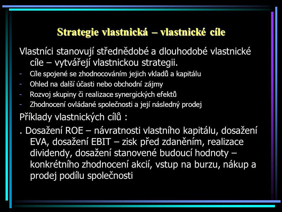 Strategie vlastnická – vlastnické cíle Vlastníci stanovují střednědobé a dlouhodobé vlastnické cíle – vytvářejí vlastnickou strategii.
