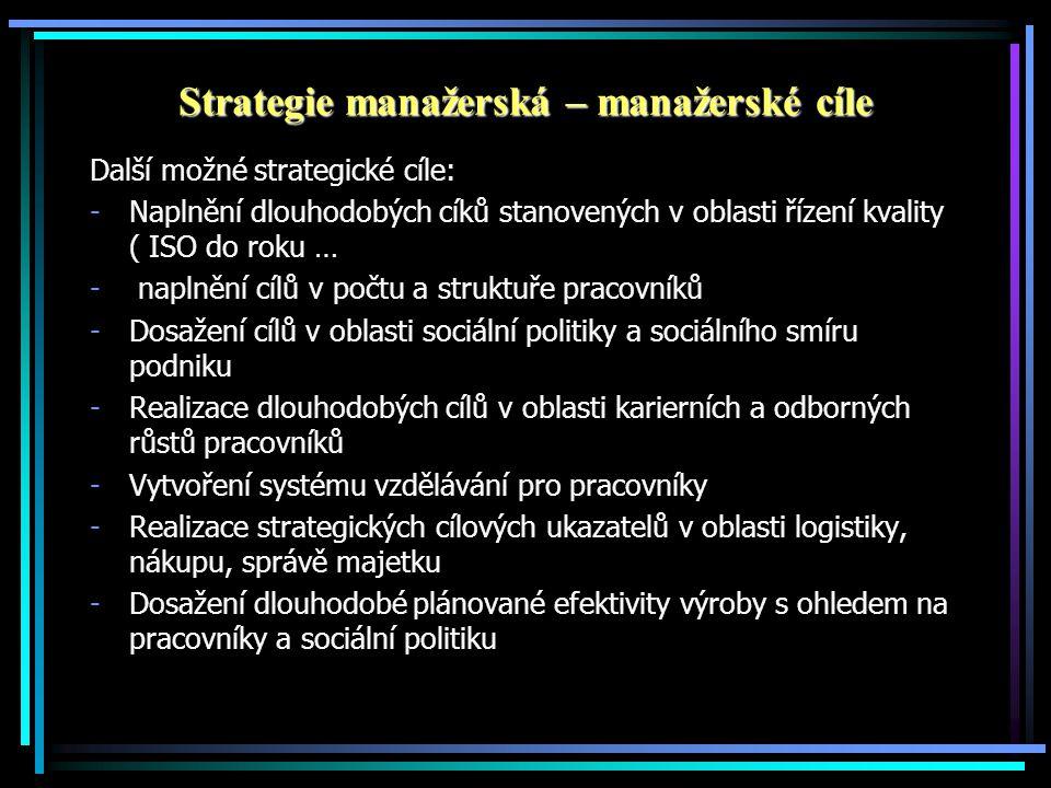 Strategie manažerská – manažerské cíle Další možné strategické cíle: -Naplnění dlouhodobých cíků stanovených v oblasti řízení kvality ( ISO do roku … - naplnění cílů v počtu a struktuře pracovníků -Dosažení cílů v oblasti sociální politiky a sociálního smíru podniku -Realizace dlouhodobých cílů v oblasti karierních a odborných růstů pracovníků -Vytvoření systému vzdělávání pro pracovníky -Realizace strategických cílových ukazatelů v oblasti logistiky, nákupu, správě majetku -Dosažení dlouhodobé plánované efektivity výroby s ohledem na pracovníky a sociální politiku