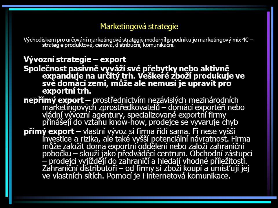 Marketingová strategie Východiskem pro určování marketingové strategie moderního podniku je marketingový mix 4C – strategie produktová, cenová, distribuční, komunikační.