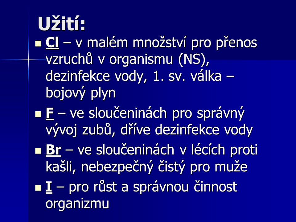 Užití: Cl – v malém množství pro přenos vzruchů v organismu (NS), dezinfekce vody, 1. sv. válka – bojový plyn Cl – v malém množství pro přenos vzruchů