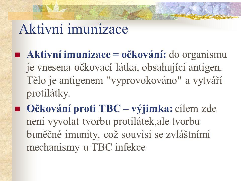 Aktivní imunizace Aktivní imunizace = očkování: do organismu je vnesena očkovací látka, obsahující antigen. Tělo je antigenem