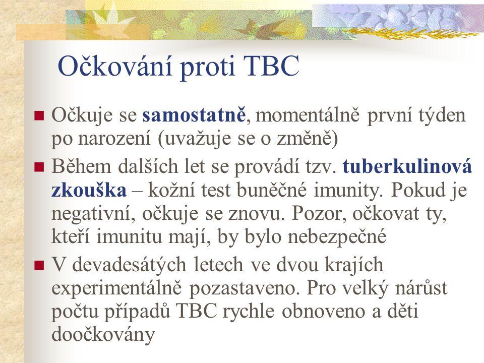Očkování proti TBC Očkuje se samostatně, momentálně první týden po narození (uvažuje se o změně) Během dalších let se provádí tzv. tuberkulinová zkouš