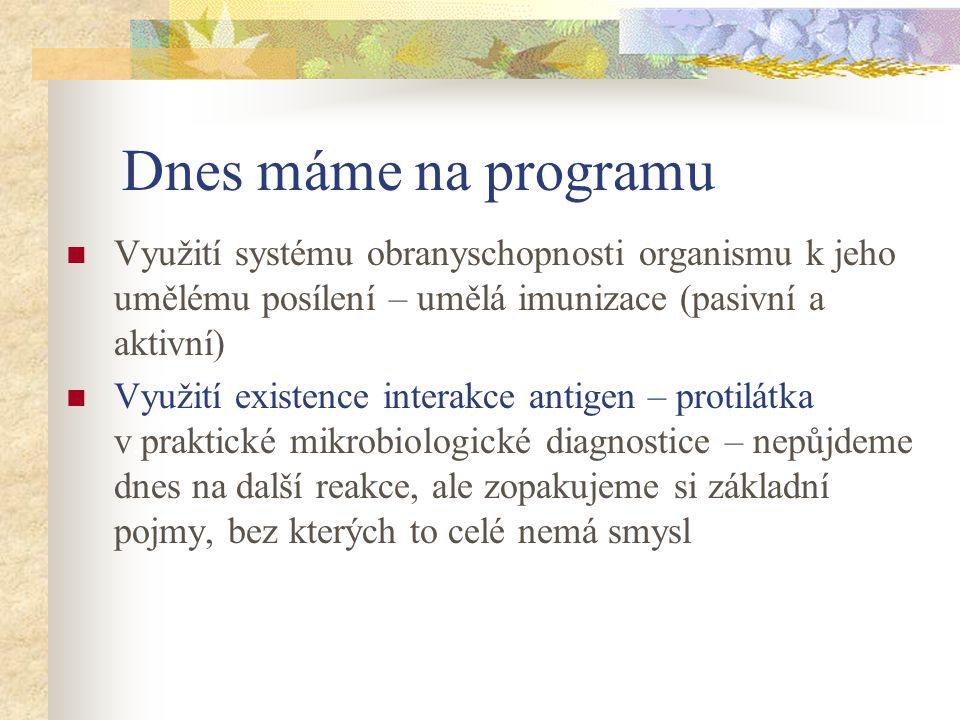 Dnes máme na programu Využití systému obranyschopnosti organismu k jeho umělému posílení – umělá imunizace (pasivní a aktivní) Využití existence inter