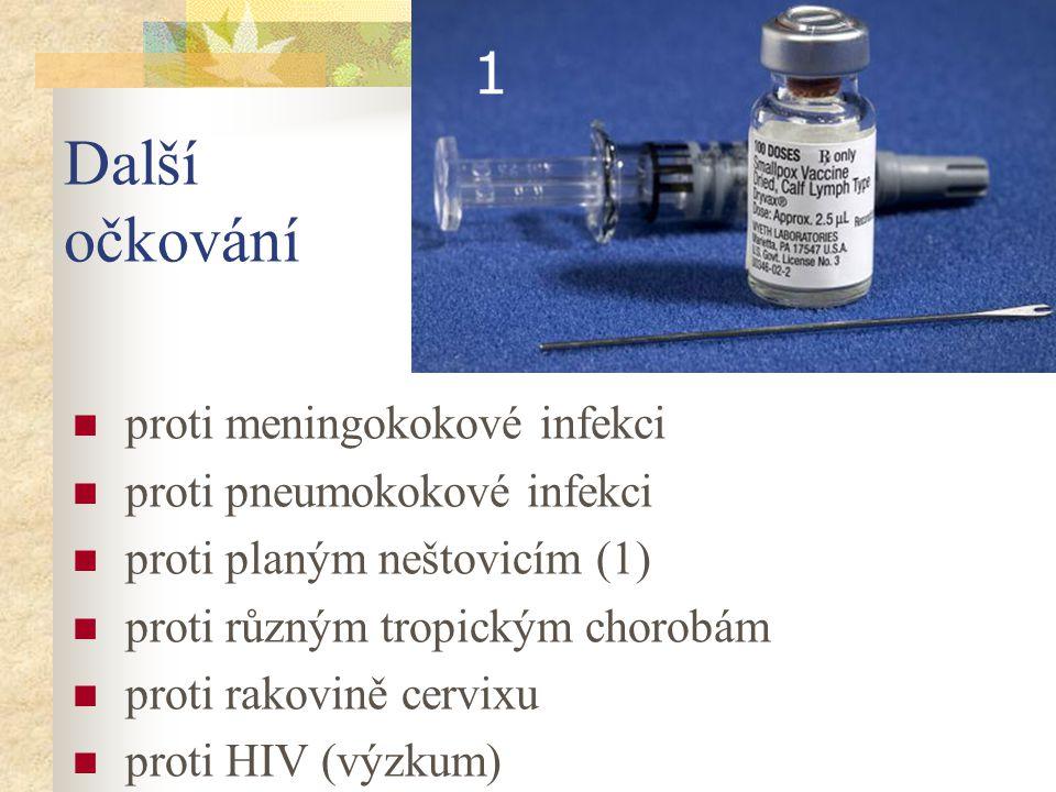 Další očkování proti meningokokové infekci proti pneumokokové infekci proti planým neštovicím (1) proti různým tropickým chorobám proti rakovině cervi