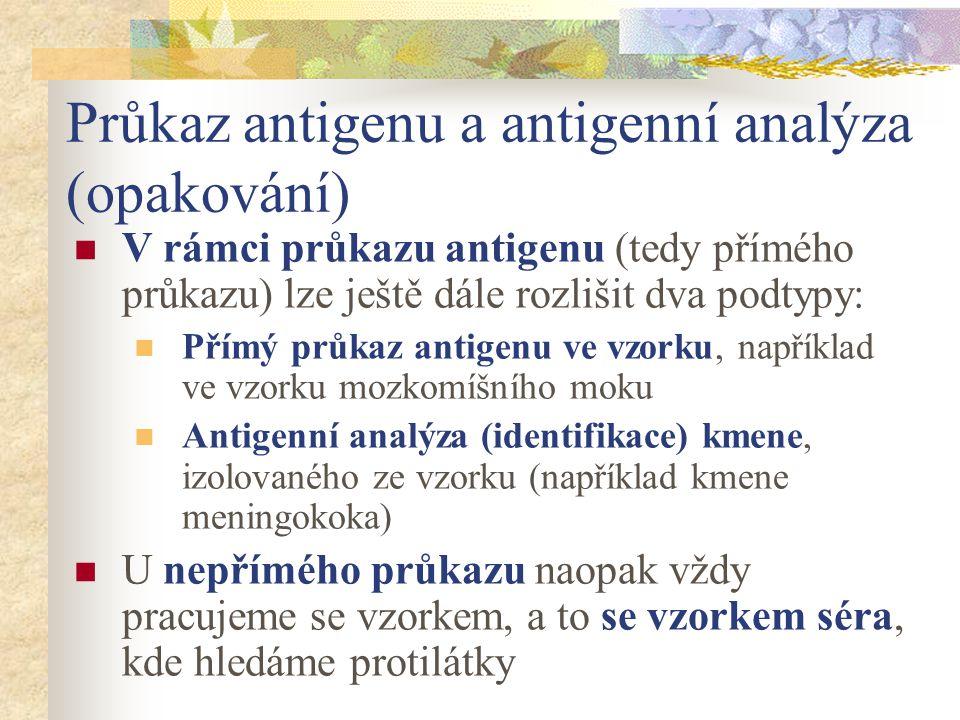 Průkaz antigenu a antigenní analýza (opakování) V rámci průkazu antigenu (tedy přímého průkazu) lze ještě dále rozlišit dva podtypy: Přímý průkaz anti