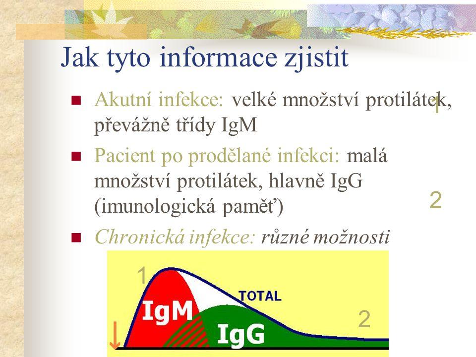Jak tyto informace zjistit Akutní infekce: velké množství protilátek, převážně třídy IgM Pacient po prodělané infekci: malá množství protilátek, hlavn