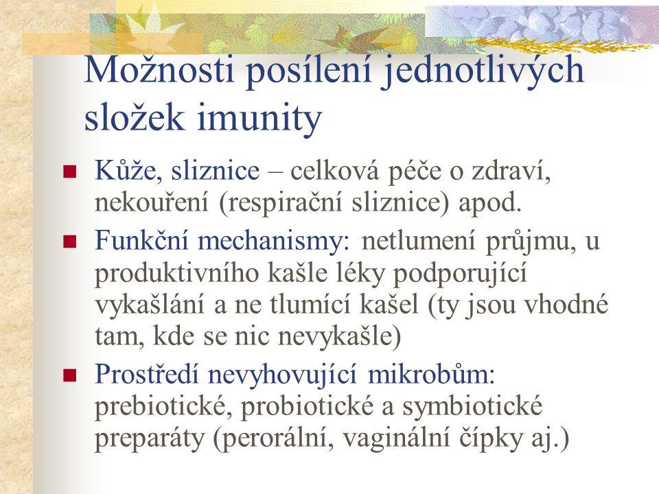 Možnosti posílení jednotlivých složek imunity Kůže, sliznice – celková péče o zdraví, nekouření (respirační sliznice) apod. Funkční mechanismy: netlum
