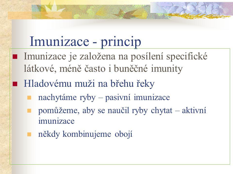 Imunizace - princip Imunizace je založena na posílení specifické látkové, méně často i buněčné imunity Hladovému muži na břehu řeky nachytáme ryby – p
