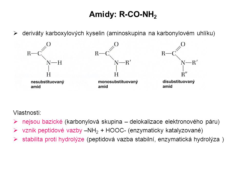 Amidy: R-CO-NH 2  deriváty karboxylových kyselin (aminoskupina na karbonylovém uhlíku) Vlastnosti:  nejsou bazické (karbonylová skupina – delokaliza