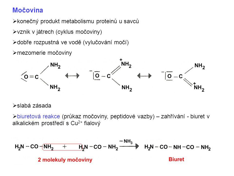 Močovina  konečný produkt metabolismu proteinů u savců  vznik v játrech (cyklus močoviny)  dobře rozpustná ve vodě (vylučování močí)  mezomerie mo