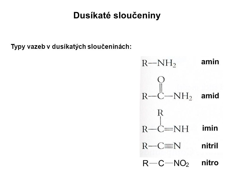 Nitroderiváty: R-NO 2  Substituce vodíku nitroskupinou (NO 2 )  Vznik nitrací aromatických uhlovodíků (HNO 3 )  Příklad: chloramfenikol (antibiotikum)trinitrotoluen