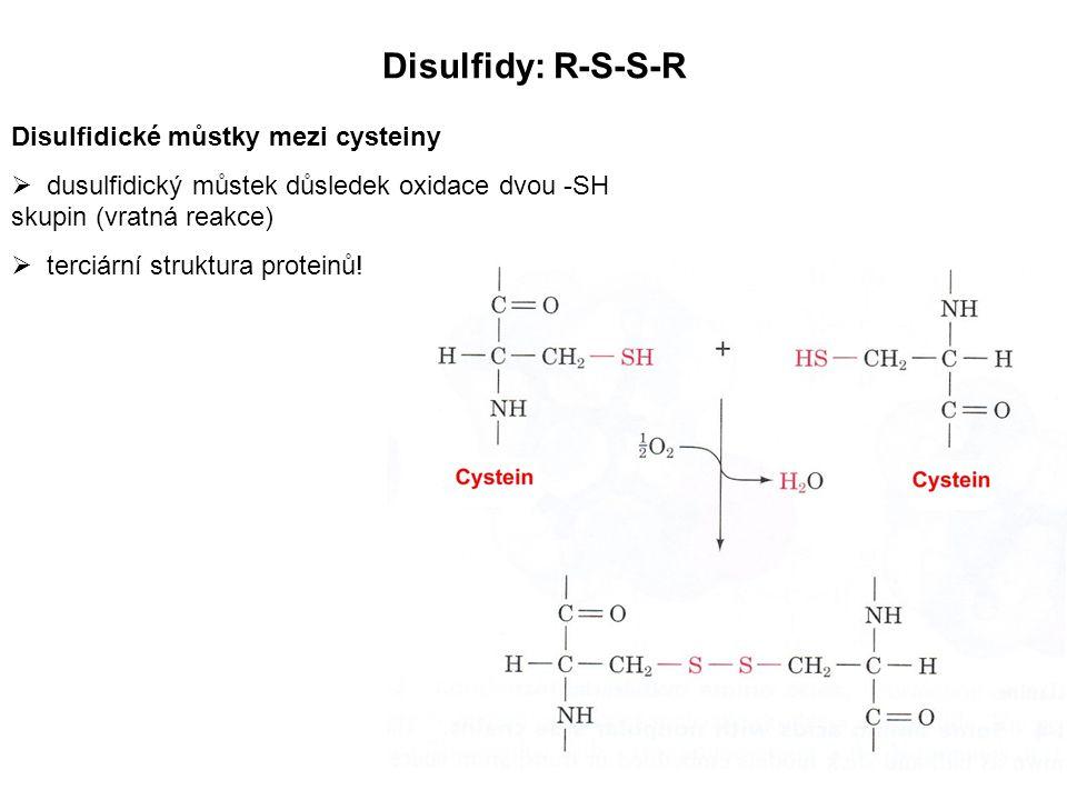 Disulfidy: R-S-S-R Disulfidické můstky mezi cysteiny  dusulfidický můstek důsledek oxidace dvou -SH skupin (vratná reakce)  terciární struktura prot