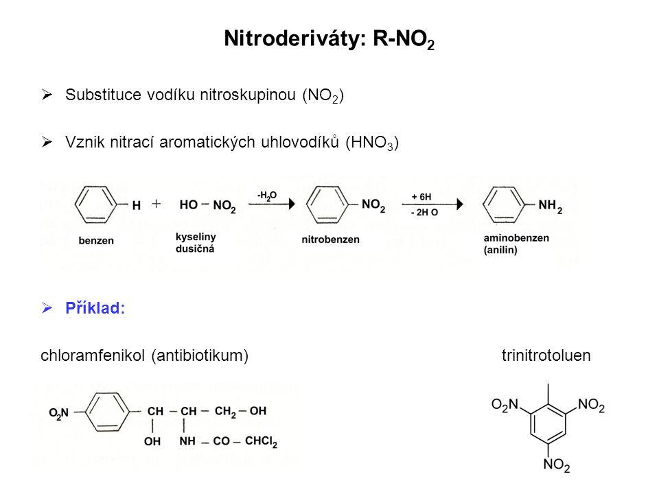 Nitroderiváty: R-NO 2  Substituce vodíku nitroskupinou (NO 2 )  Vznik nitrací aromatických uhlovodíků (HNO 3 )  Příklad: chloramfenikol (antibiotik