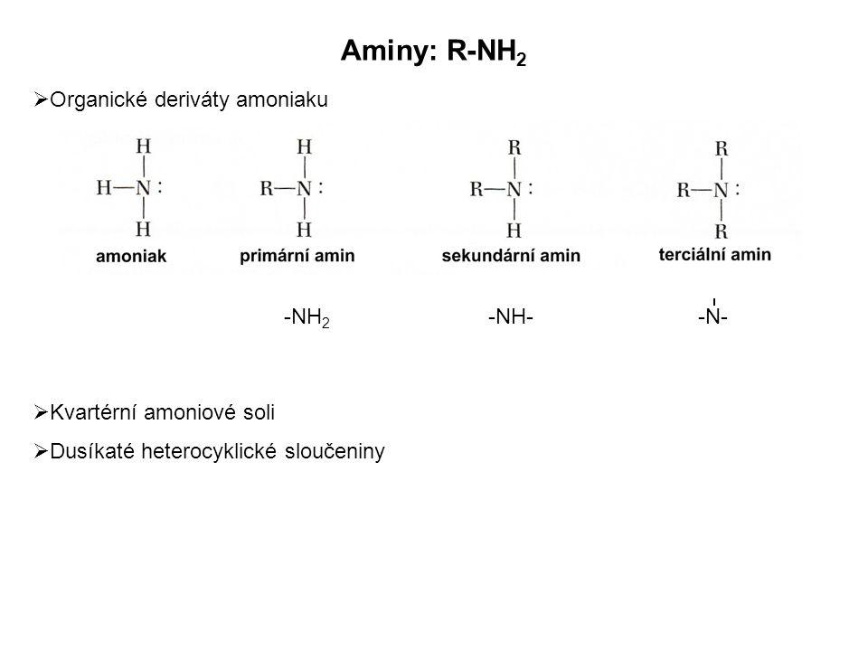  Organické deriváty amoniaku  Kvartérní amoniové soli  Dusíkaté heterocyklické sloučeniny Aminy: R-NH 2 -NH 2 -NH- -N-
