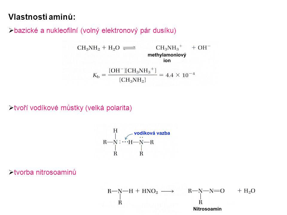Význam aminů: Nejdůležitější organické zásady Význam v biochemii:  kvartérní amoniové soli  biogenní aminy  aminokyseliny  proteiny  alkaloidy