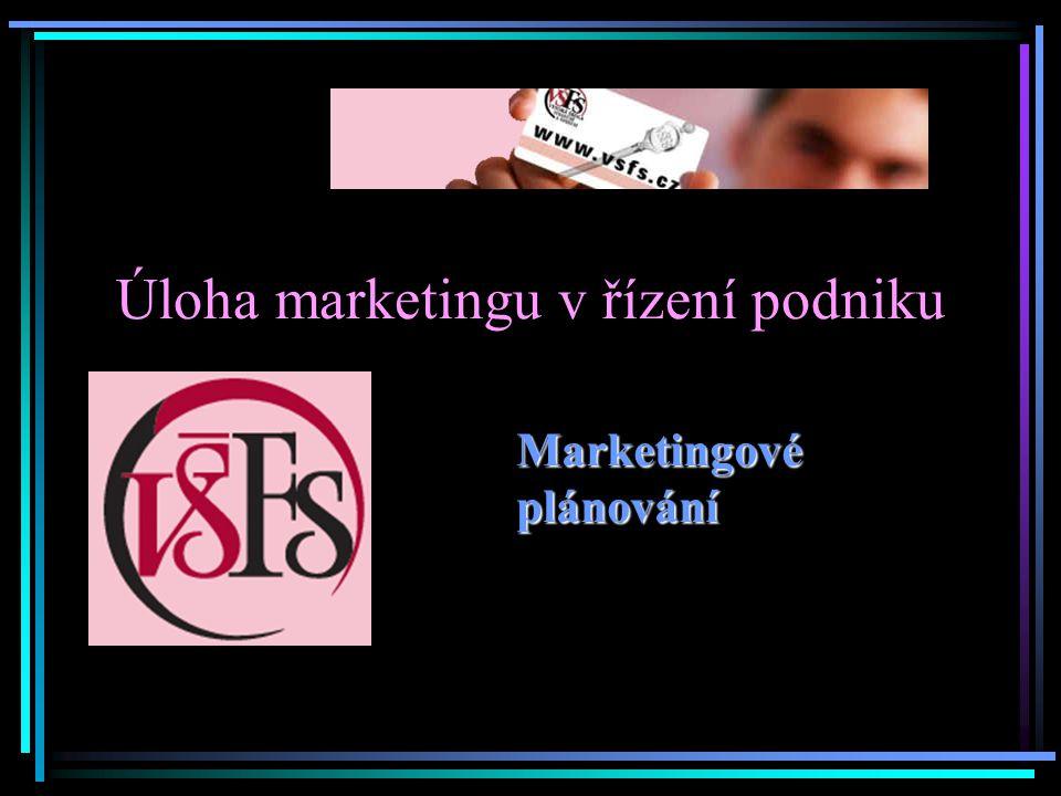 Úloha marketingu v řízení podniku Marketingové plánování