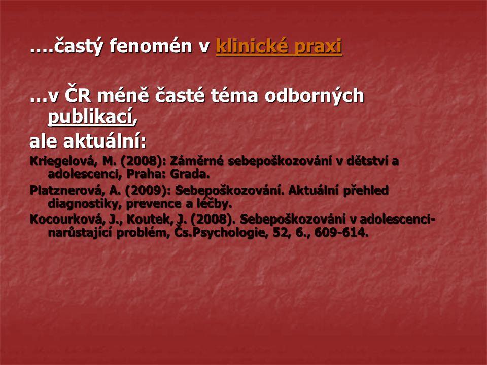 ….častý fenomén v klinické praxi …v ČR méně časté téma odborných publikací, ale aktuální: Kriegelová, M.
