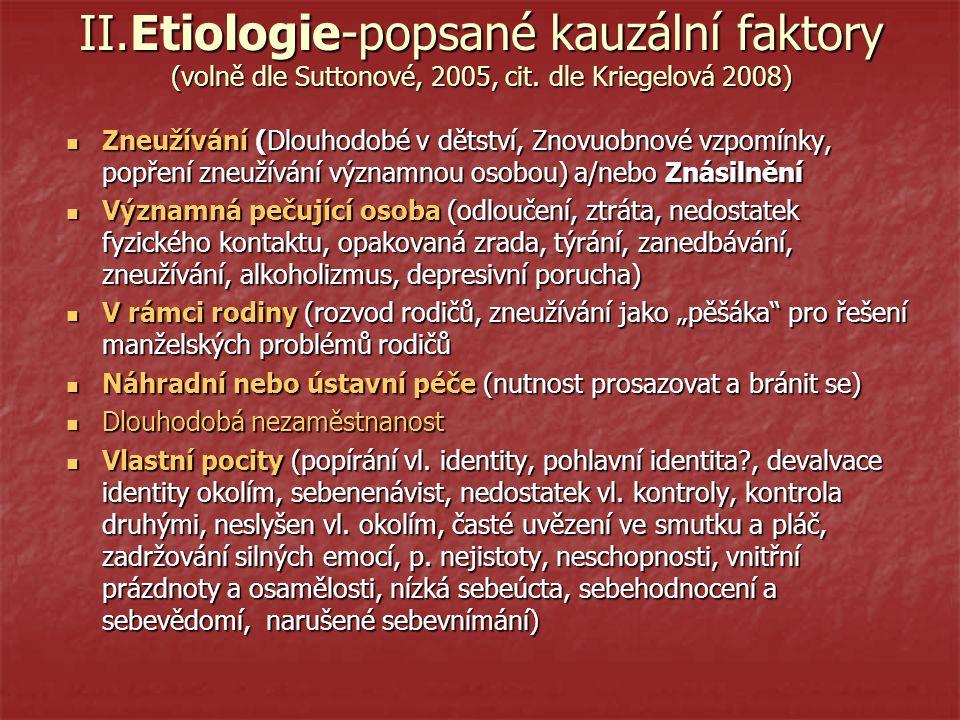 II.Etiologie-popsané kauzální faktory (volně dle Suttonové, 2005, cit.