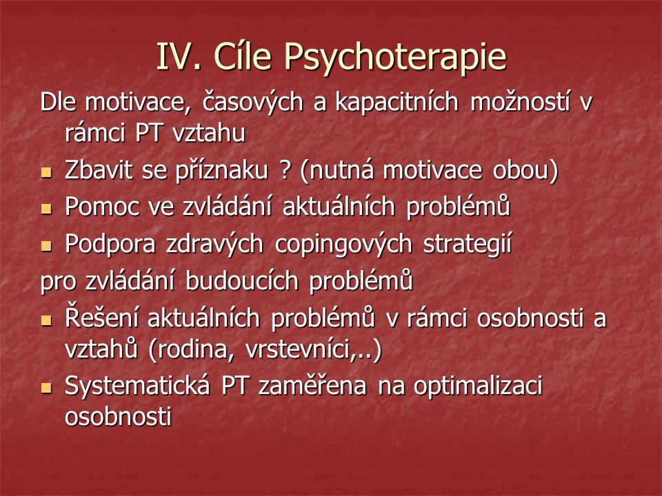 IV. Cíle Psychoterapie Dle motivace, časových a kapacitních možností v rámci PT vztahu Zbavit se příznaku ? (nutná motivace obou) Zbavit se příznaku ?