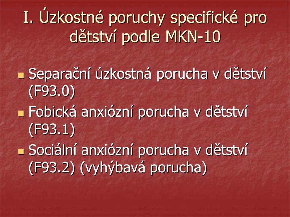 I. Úzkostné poruchy specifické pro dětství podle MKN-10 Separační úzkostná porucha v dětství (F93.0) Separační úzkostná porucha v dětství (F93.0) Fobi