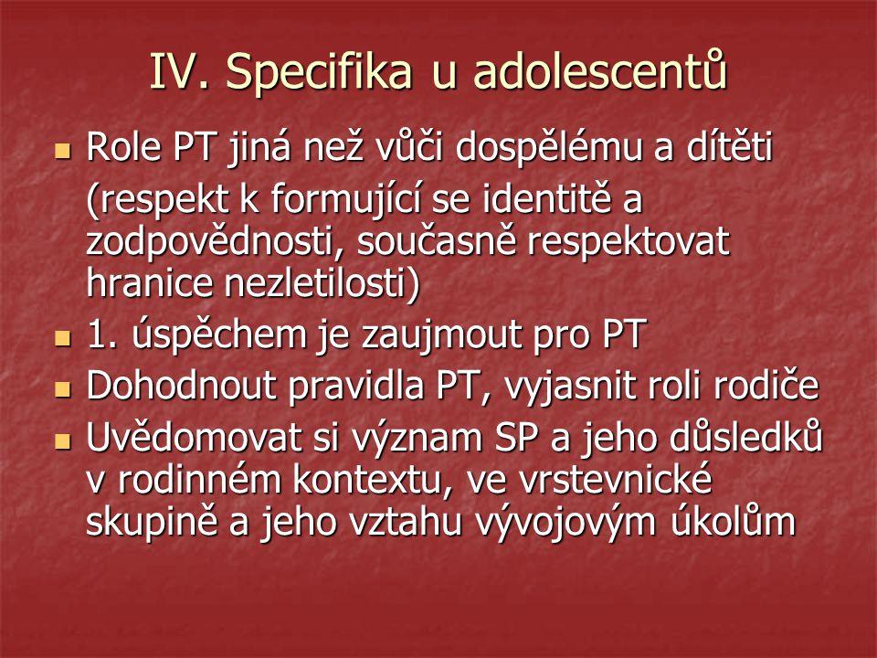 IV. Specifika u adolescentů Role PT jiná než vůči dospělému a dítěti Role PT jiná než vůči dospělému a dítěti (respekt k formující se identitě a zodpo
