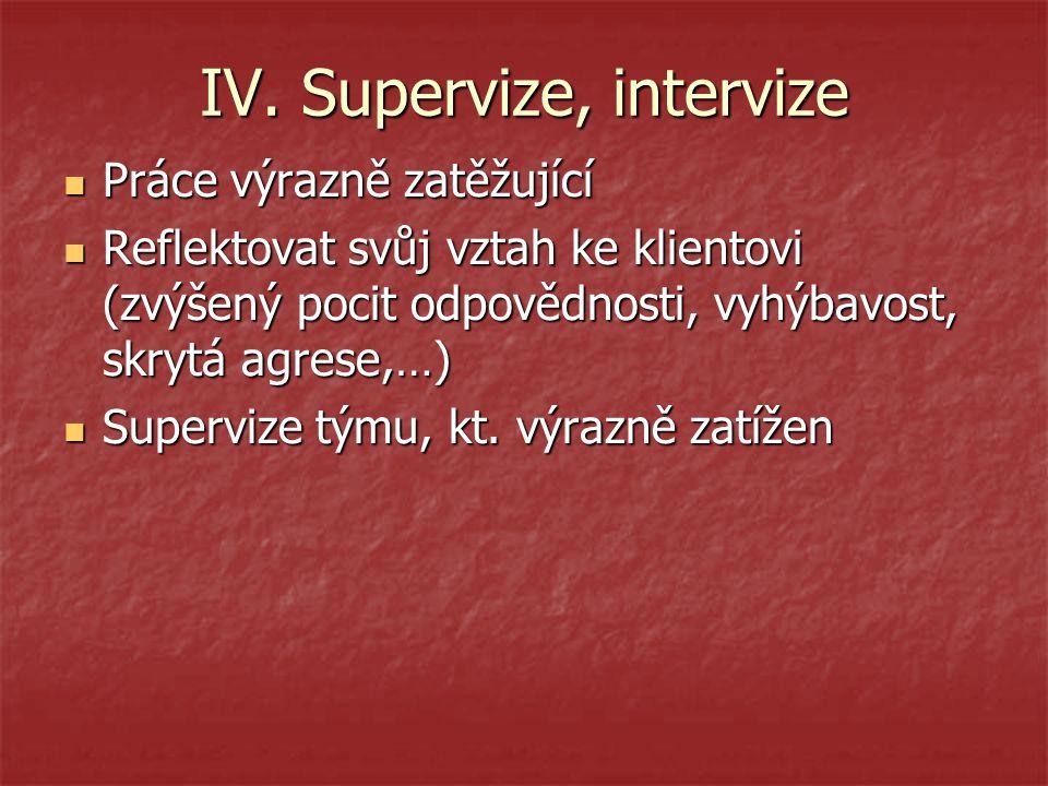 IV. Supervize, intervize Práce výrazně zatěžující Práce výrazně zatěžující Reflektovat svůj vztah ke klientovi (zvýšený pocit odpovědnosti, vyhýbavost