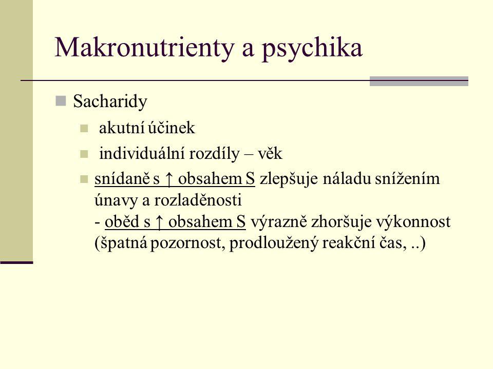 Makronutrienty a psychika Sacharidy akutní účinek individuální rozdíly – věk snídaně s ↑ obsahem S zlepšuje náladu snížením únavy a rozladěnosti - obě
