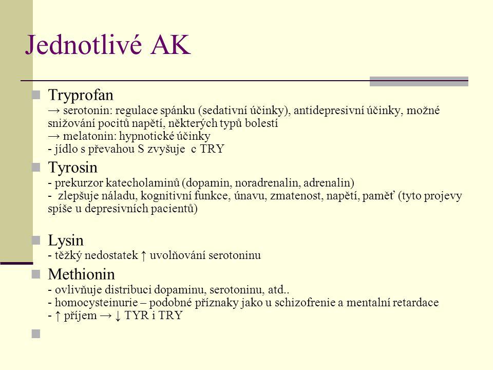 Jednotlivé AK Tryprofan → serotonin: regulace spánku (sedativní účinky), antidepresivní účinky, možné snižování pocitů napětí, některých typů bolestí