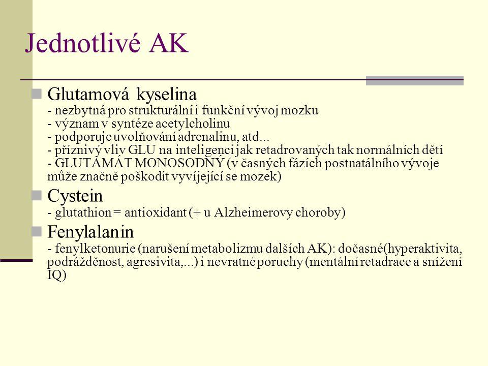 Jednotlivé AK Glutamová kyselina - nezbytná pro strukturální i funkční vývoj mozku - význam v syntéze acetylcholinu - podporuje uvolňování adrenalinu,