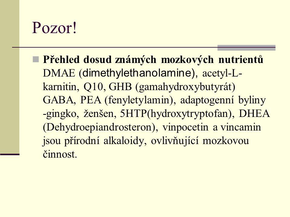 Pozor! Přehled dosud známých mozkových nutrientů DMAE ( dimethylethanolamine), acetyl-L- karnitin, Q10, GHB (gamahydroxybutyrát) GABA, PEA (fenyletyla