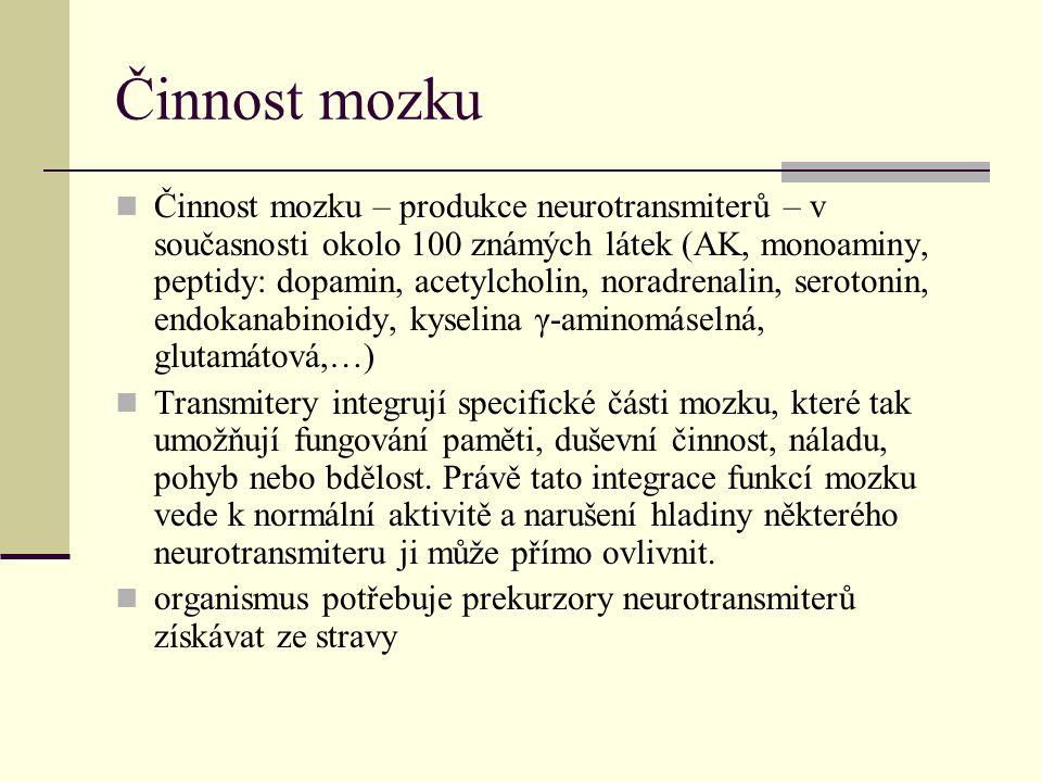Činnost mozku Činnost mozku – produkce neurotransmiterů – v současnosti okolo 100 známých látek (AK, monoaminy, peptidy: dopamin, acetylcholin, noradr