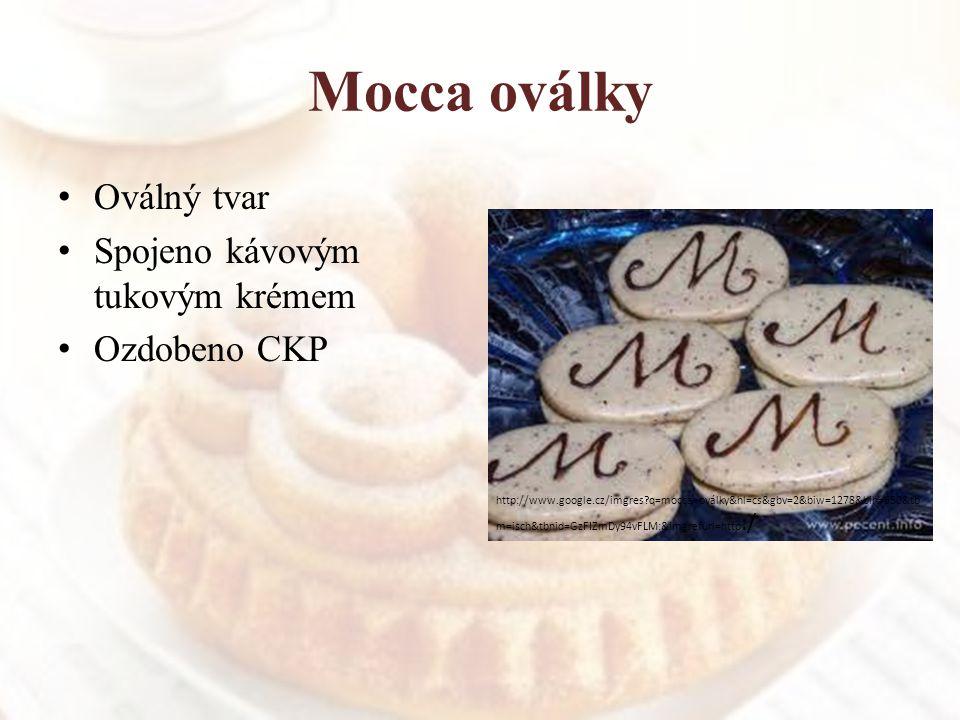 Mocca oválky Oválný tvar Spojeno kávovým tukovým krémem Ozdobeno CKP http://www.google.cz/imgres?q=mocca+oválky&hl=cs&gbv=2&biw=1278&bih=650&tb m=isch