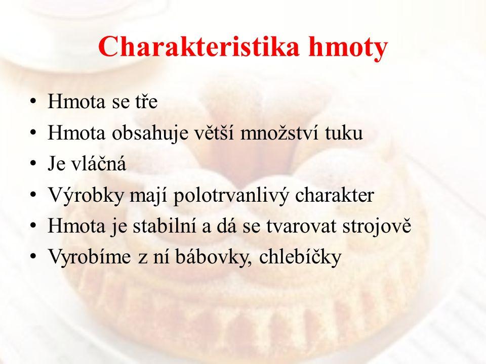 Suroviny a jejich úprava Margarín S ( Hera, máslo ), pokojová teplota Cukr moučka ( prosátý ) Vejce ( čerstvá, melanž ) stejná teplota jako S Mouka hladká ( prosátá ) Rozinky Kandované ovoce Kypřící prášek ttp://www.google.cz/imgres?q=kandova né+ovoce&num=10&hl=cs&gbv=2&biw= 1278&bih=650&tbm=isch&tbnid=_oEXqF 6JE_elVM:&img