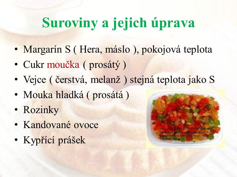Suroviny a jejich úprava Margarín S ( Hera, máslo ), pokojová teplota Cukr moučka ( prosátý ) Vejce ( čerstvá, melanž ) stejná teplota jako S Mouka hl