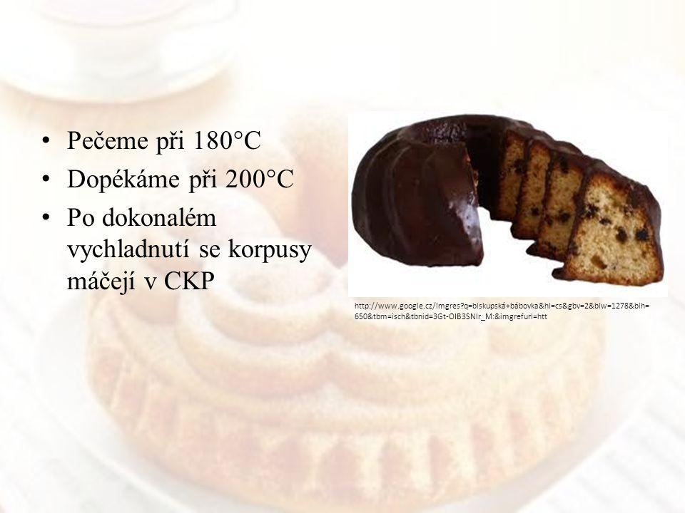 Pečeme při 180°C Dopékáme při 200°C Po dokonalém vychladnutí se korpusy máčejí v CKP http://www.google.cz/imgres?q=biskupská+bábovka&hl=cs&gbv=2&biw=1