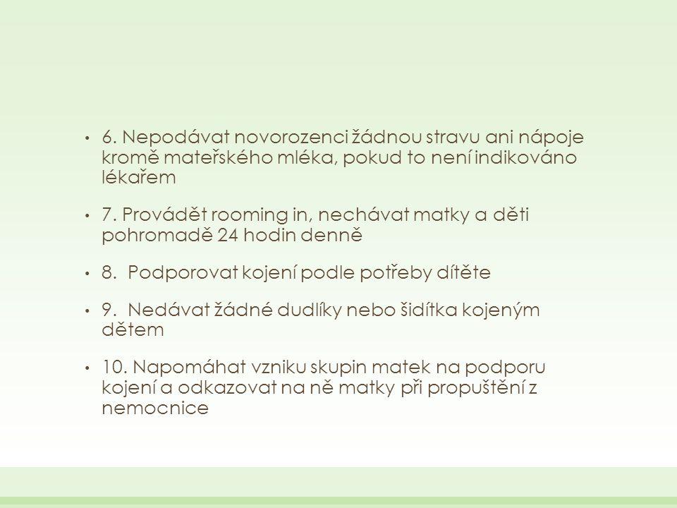 6. Nepodávat novorozenci žádnou stravu ani nápoje kromě mateřského mléka, pokud to není indikováno lékařem 7. Provádět rooming in, nechávat matky a dě
