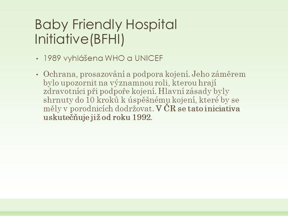 Baby Friendly Hospital Initiative(BFHI) 1989 vyhlášena WHO a UNICEF Ochrana, prosazování a podpora kojení.