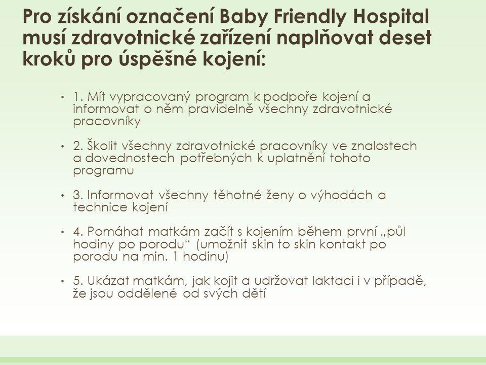 Pro získání označení Baby Friendly Hospital musí zdravotnické zařízení naplňovat deset kroků pro úspěšné kojení: 1.