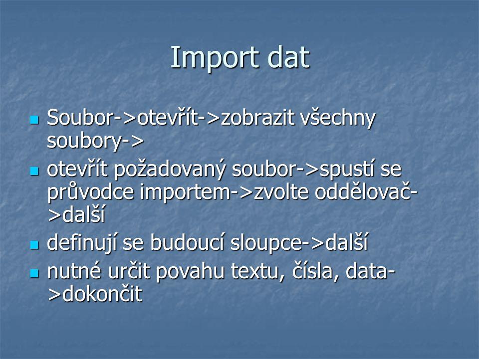 Import dat Soubor->otevřít->zobrazit všechny soubory-> Soubor->otevřít->zobrazit všechny soubory-> otevřít požadovaný soubor->spustí se průvodce impor