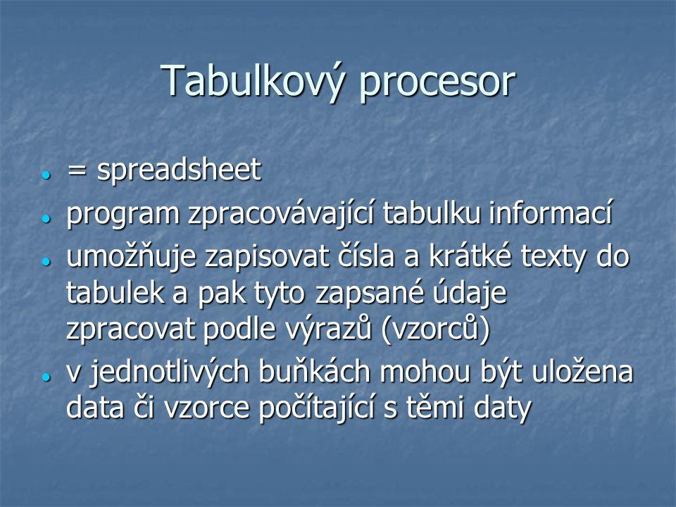 Tabulkový procesor = spreadsheet = spreadsheet program zpracovávající tabulku informací program zpracovávající tabulku informací umožňuje zapisovat čí