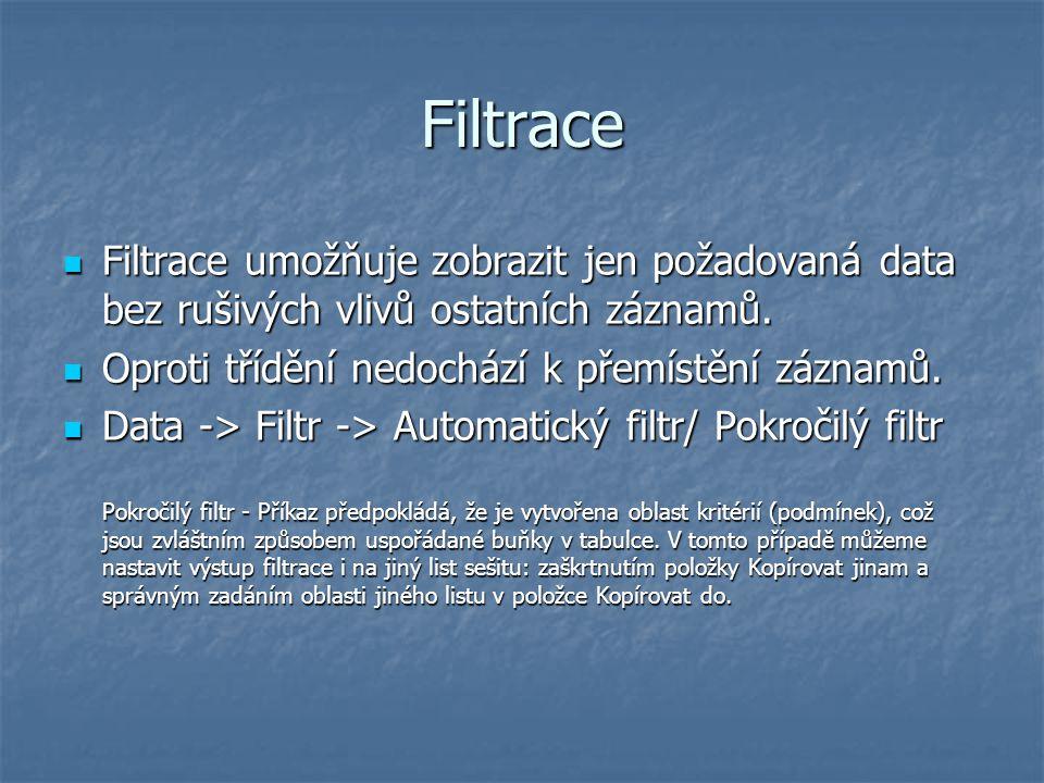 Filtrace Filtrace umožňuje zobrazit jen požadovaná data bez rušivých vlivů ostatních záznamů. Filtrace umožňuje zobrazit jen požadovaná data bez rušiv