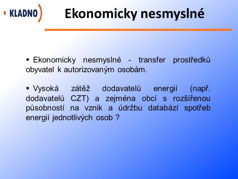 Ekonomicky nesmyslné  Ekonomicky nesmyslné - transfer prostředků obyvatel k autorizovaným osobám.