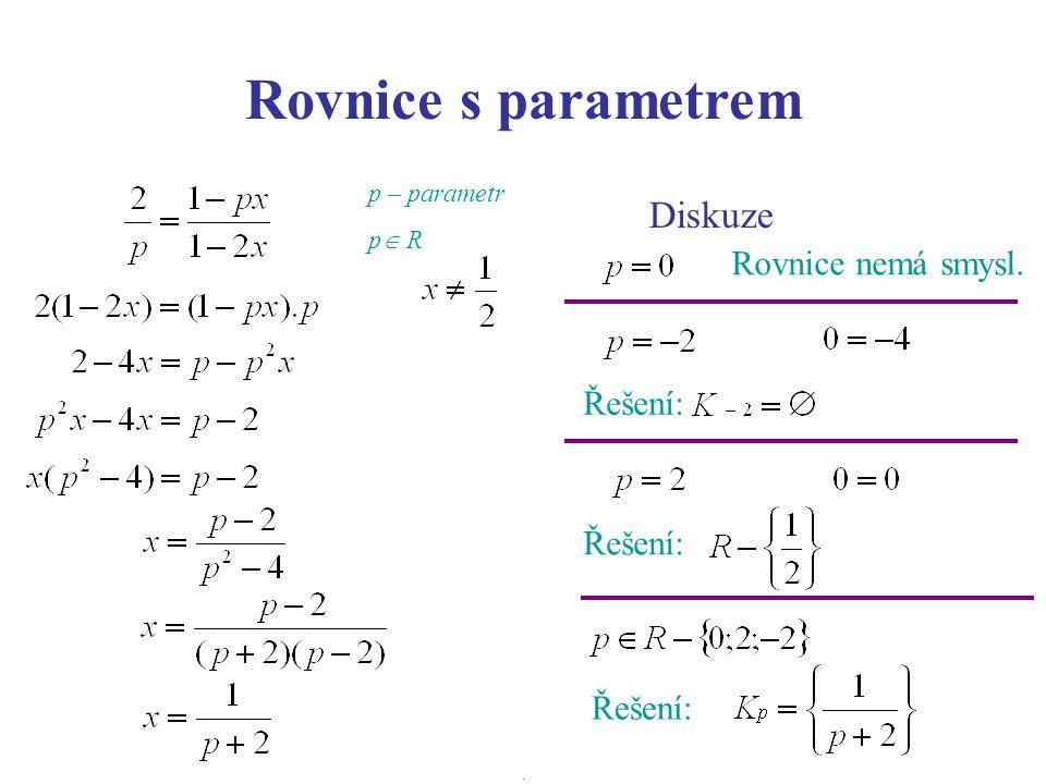 Rovnice s parametrem Diskuze Řešení: Rovnice nemá smysl. Řešení: p – parametr p  R.