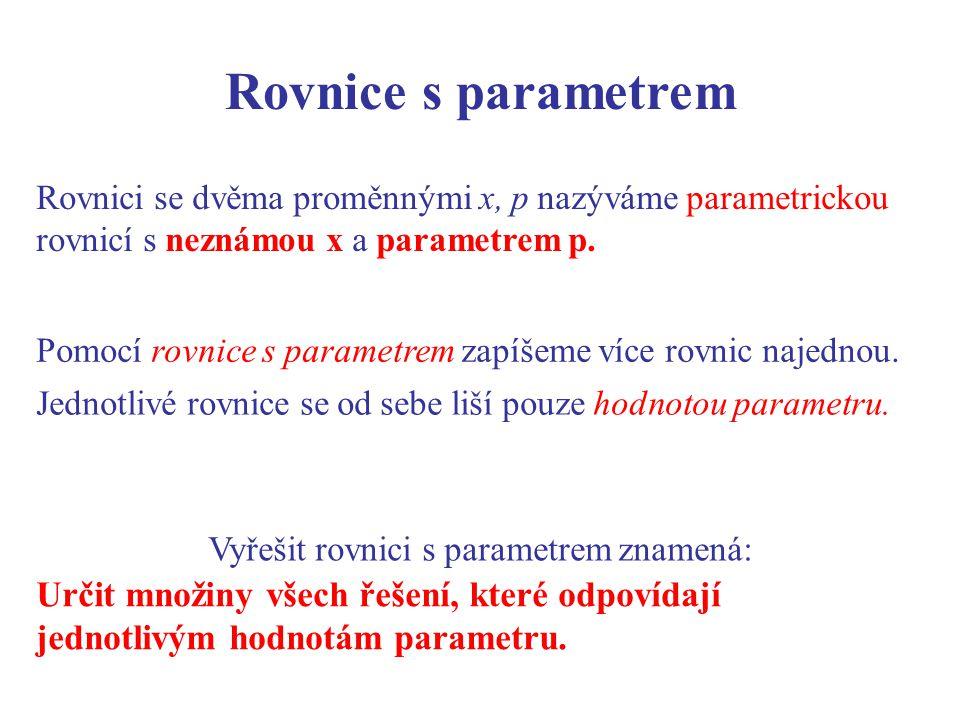 Rovnice s parametrem Rovnici se dvěma proměnnými x, p nazýváme parametrickou rovnicí s neznámou x a parametrem p.