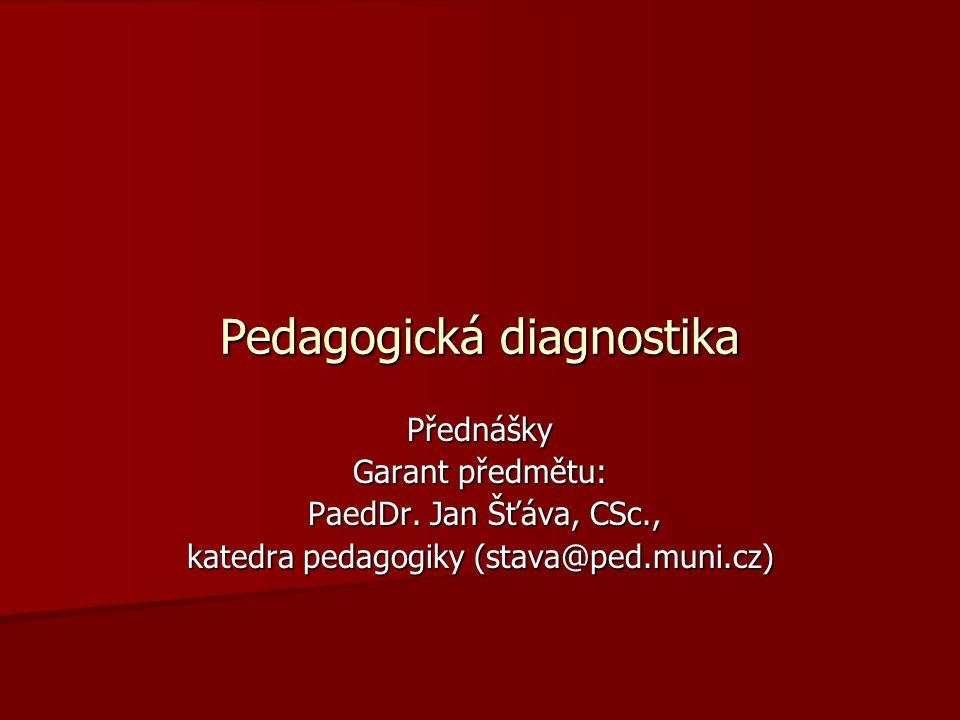 Diagnostické kompetence učitele Vyplývají z analýzy etap : Vyplývají z analýzy etap : Dobrá teoretická orientace v pedagogické diagnostice - metody, dovednost je vhodně volit, umět získané údaje zpracovat, umět vést diagnostické šetření, vyhodnocovat data, vyvozovat na základě interpretace a analýzy diagnostických dat pedagogické opatření a závěry Dobrá teoretická orientace v pedagogické diagnostice - metody, dovednost je vhodně volit, umět získané údaje zpracovat, umět vést diagnostické šetření, vyhodnocovat data, vyvozovat na základě interpretace a analýzy diagnostických dat pedagogické opatření a závěry Učiteli je bližší didaktická diagnostika Učiteli je bližší didaktická diagnostika Diagnostické kompetence učitele představují soubor vědomostí, schopností a dovedností.
