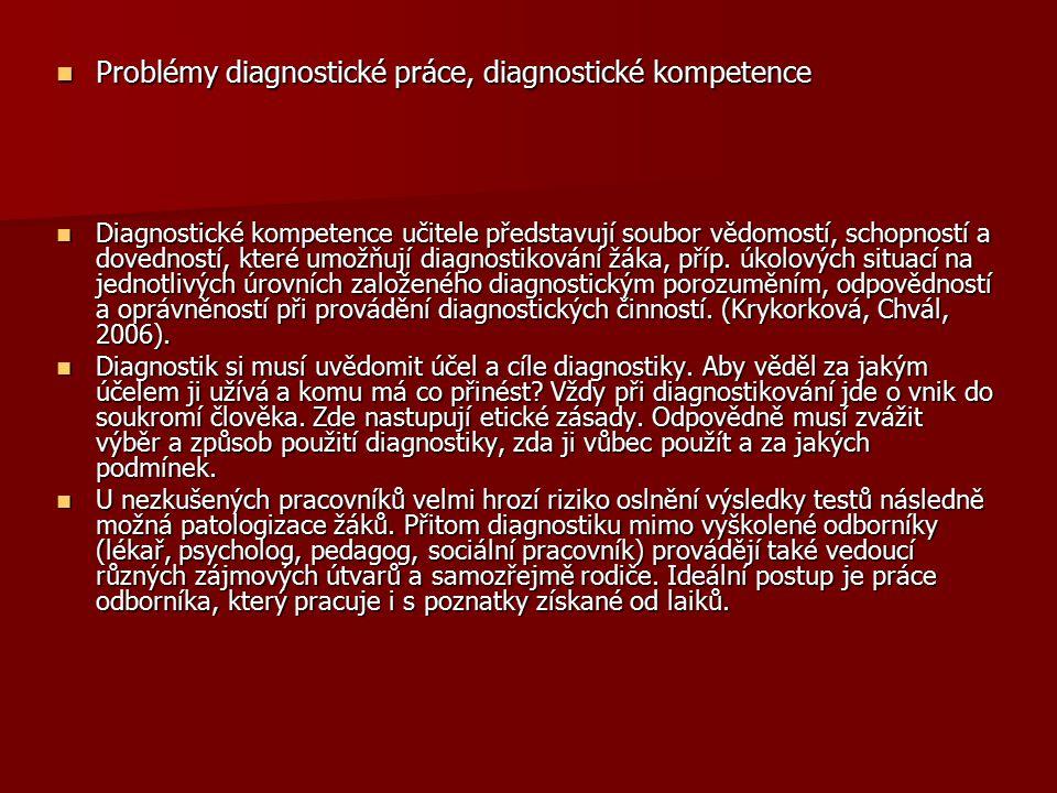 Problémy diagnostické práce, diagnostické kompetence Problémy diagnostické práce, diagnostické kompetence Diagnostické kompetence učitele představují soubor vědomostí, schopností a dovedností, které umožňují diagnostikování žáka, příp.