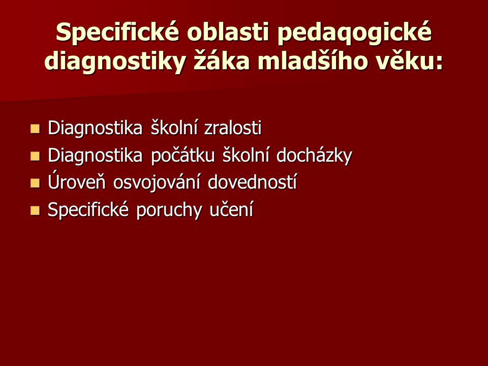 Specifické oblasti pedaqogické diagnostiky žáka mladšího věku: Diagnostika školní zralosti Diagnostika školní zralosti Diagnostika počátku školní docházky Diagnostika počátku školní docházky Úroveň osvojování dovedností Úroveň osvojování dovedností Specifické poruchy učení Specifické poruchy učení