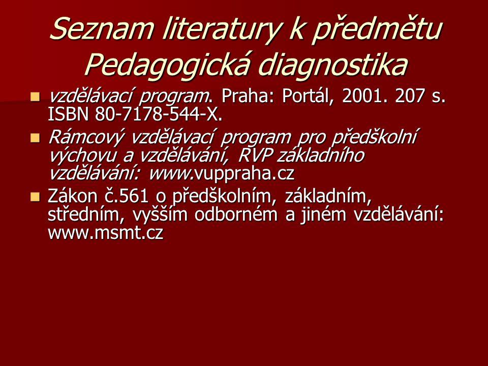 Seznam literatury k předmětu Pedagogická diagnostika vzdělávací program. Praha: Portál, 2001. 207 s. ISBN 80-7178-544-X. vzdělávací program. Praha: Po