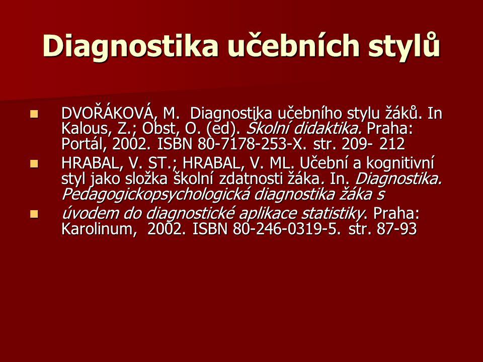 Diagnostika učebních stylů DVOŘÁKOVÁ, M. Diagnostika učebního stylu žáků. In Kalous, Z.; Obst, O. (ed). Školní didaktika. Praha: Portál, 2002. ISBN 80