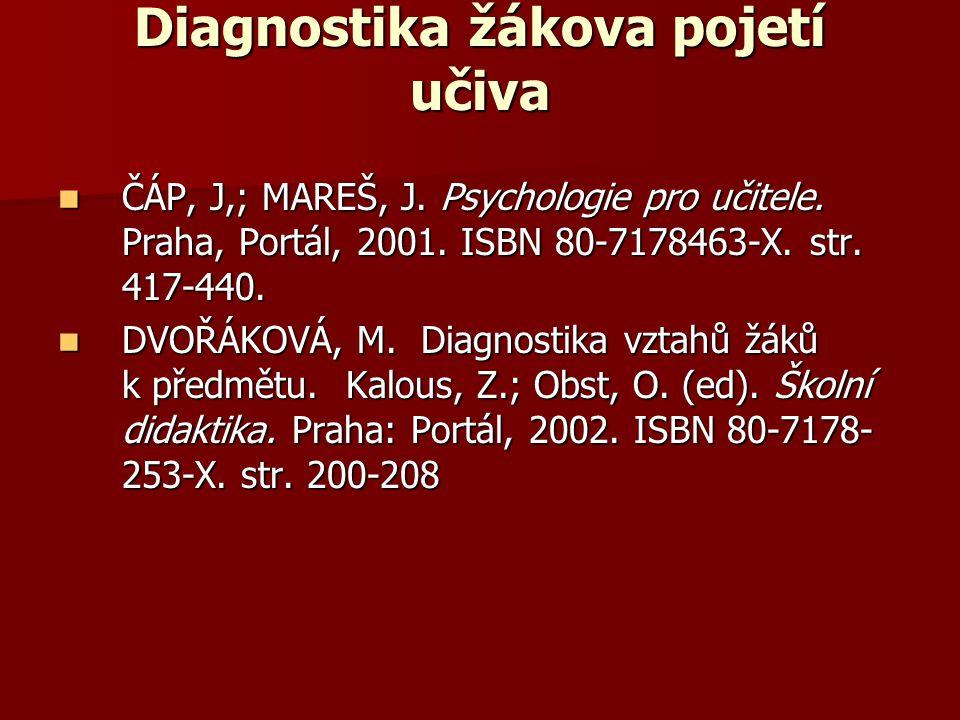 Diagnostika žákova pojetí učiva ČÁP, J,; MAREŠ, J. Psychologie pro učitele. Praha, Portál, 2001. ISBN 80-7178463-X. str. 417-440. ČÁP, J,; MAREŠ, J. P